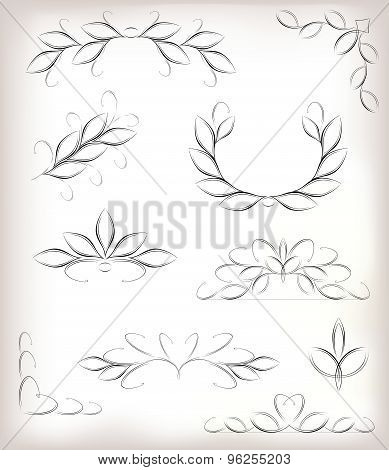 Vector seta lot of design elements with leaves and page decoration. EPS10 vector illustration