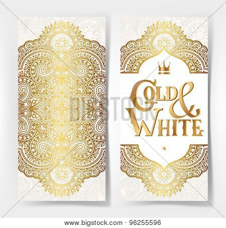 elegant floral ornamental background with inscription Gold and W