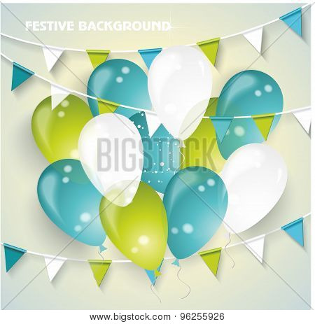 Festive Vector Background With Colorful Balloons, Pennants And Confetti.