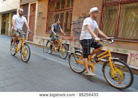 Cyclists At Budapest Streets, Hungary