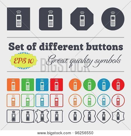 The Remote Control Icon Sign. Big Set Of Colorful, Diverse, High-quality Buttons. Vector