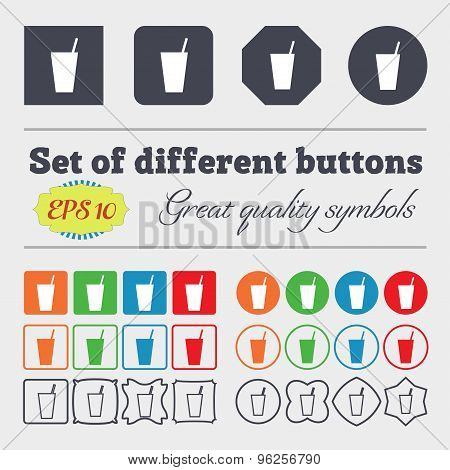 Cocktail Icon Sign. Big Set Of Colorful, Diverse, High-quality Buttons. Vector