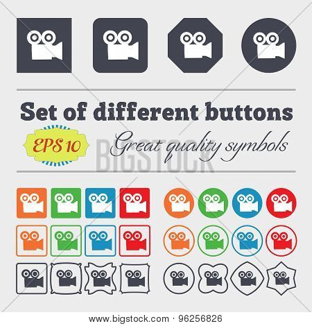 Video Camera Icon Sign. Big Set Of Colorful, Diverse, High-quality Buttons. Vector