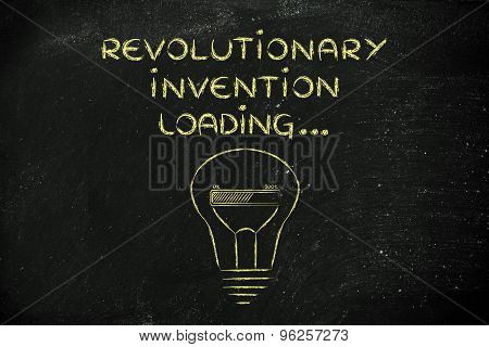 Revolutionary Invention Loading, Lightbulb With Progress Bar Illustration