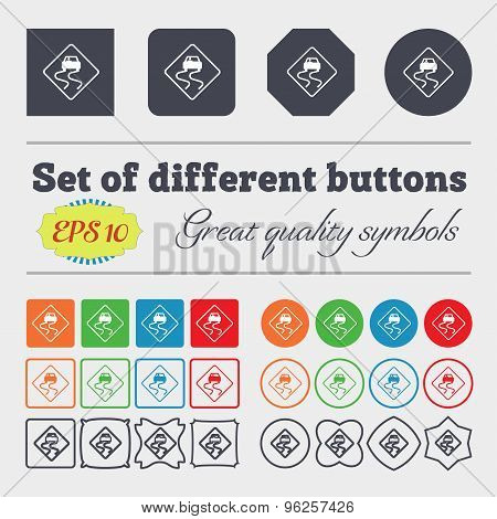 Road Slippery Icon Sign. Big Set Of Colorful, Diverse, High-quality Buttons. Vector