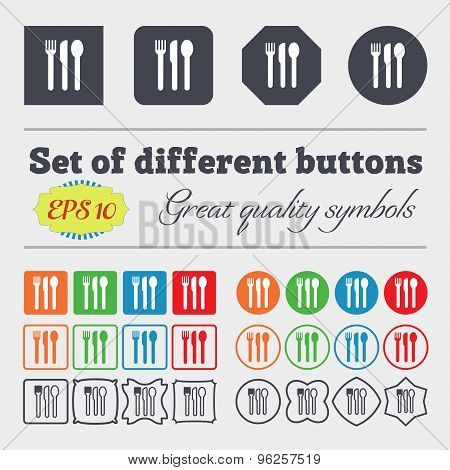 Fork, Knife, Spoon Icon Sign. Big Set Of Colorful, Diverse, High-quality Buttons. Vector