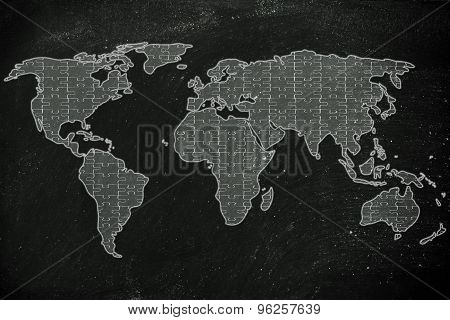 World Map Made Of Jigsaw Puzzle Pieces