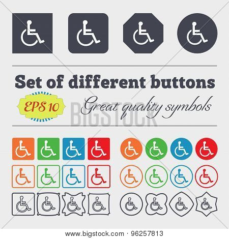 Disabled Icon Sign. Big Set Of Colorful, Diverse, High-quality Buttons. Vector