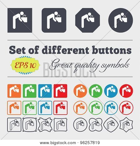 Drinking Fountain Icon Sign. Big Set Of Colorful, Diverse, High-quality Buttons. Vector