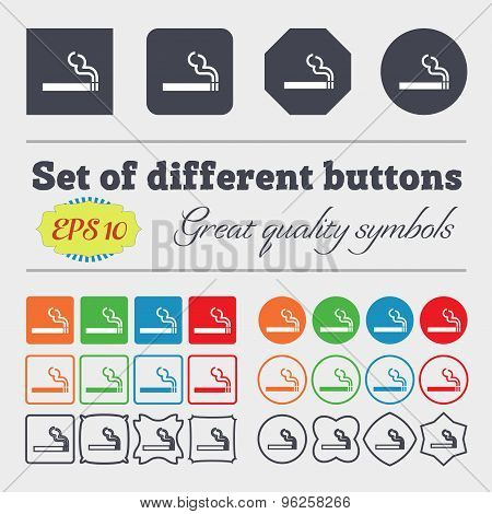 Cigarette Smoke Icon Sign. Big Set Of Colorful, Diverse, High-quality Buttons. Vector