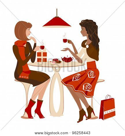 Two girls at a cafe