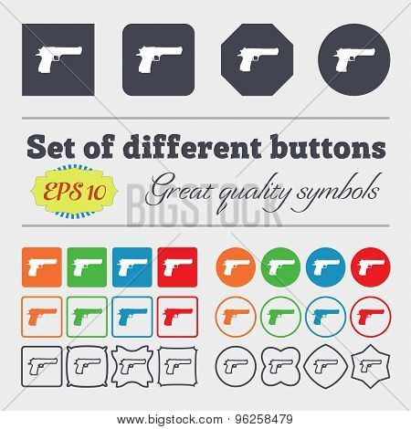 Gun Icon Sign. Big Set Of Colorful, Diverse, High-quality Buttons. Vector