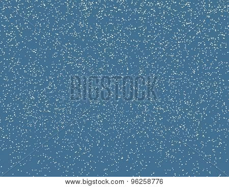 Blue Background With Many Snow Flakes Falling Down, Snowy 3D Illustration.