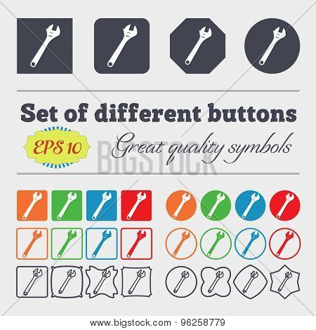 Wrench Icon Sign. Big Set Of Colorful, Diverse, High-quality Buttons. Vector