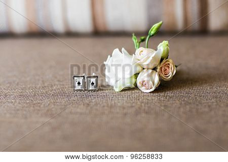 Boutonniere and cufflinks