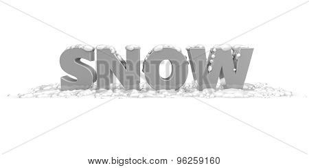 Snow Concept With Snow 3D Text And Snow Illustration Isolated.