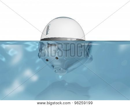 Piggy Bank Under Water, Financial Problems And Economic Crisis Symbol.
