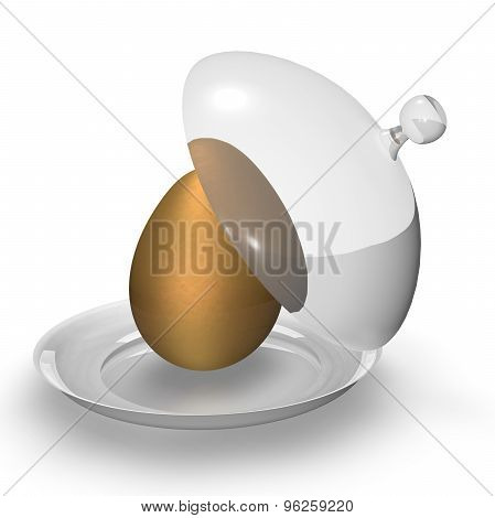 Gold Egg On Tray. Illustration Isolated On White. Symbol Of Wealth And Luck.