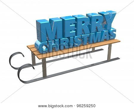 Merry Christmas Text With 3D Sledge Isolated On White.