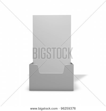 Empty Leaflet Holder 3D Render. Fliers Marketing Stand With Shadow.