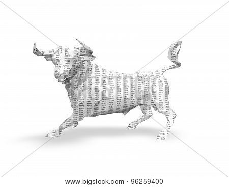 3D Paper Bull  With Numbers Texture, Isolated On White, Stock Market Exchange Abstract Idea.