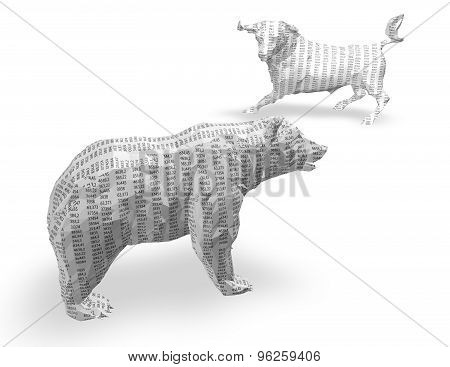 3D Paper Bull And Bear With Numbers Texture, Isolated On White.