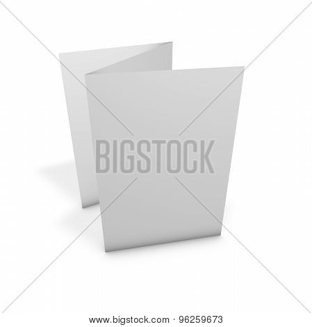 Blank Pamphlet Standing On Table With Empty White Pages Isolated.