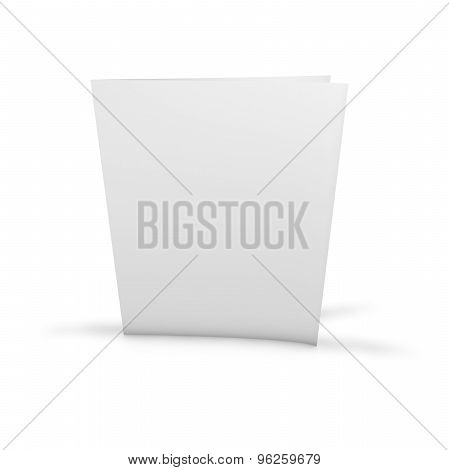 Blank Two Page Leaflet, Flier Standing On Floor With Empty Cover, Background For Any Presentation.