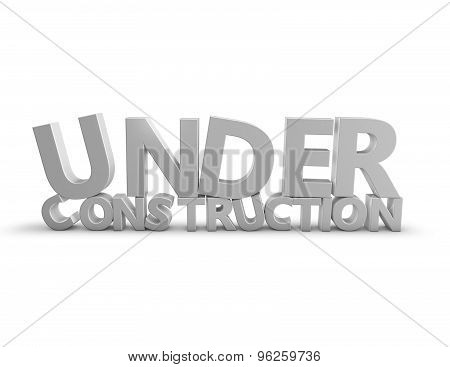 Under Construction 3D Text Isolated On White Background.