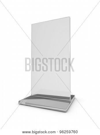Blank Information, Magazine And Leaflet Transparent Holder Standing On Floor. 3D Illustration Isolat