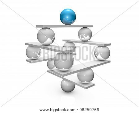 Constructing, Balancing Abstract Concept With Balls And Scales. 3D Three-dimensional Illustration.