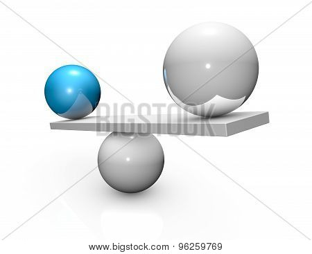 Balancing Abstract 3D Concept. Three-dimensional Illustration Isolated.