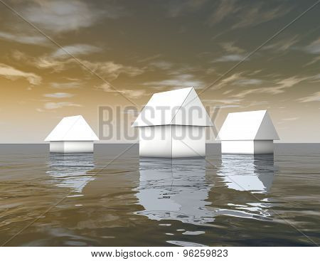 3D White Houses Under Water, Natural Catastrophes Abstract Illustration.