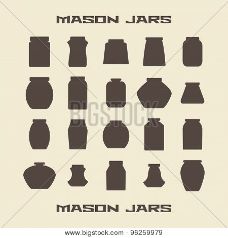 Mason jars  silhouette icons set. Vector illustration  template.