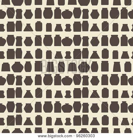 Mason jars  seamless pattern. Flat design  vector illustration.