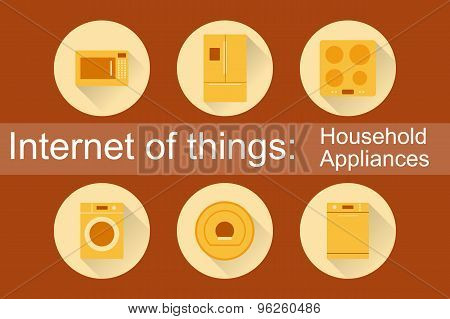 Internet of Things, IoT. Household Appliances. Set of 6 flat icons. Vector Illustration EPS10.