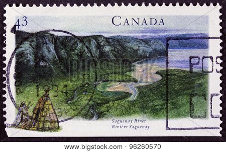 Canadian lakes and mountains on a postage stamp