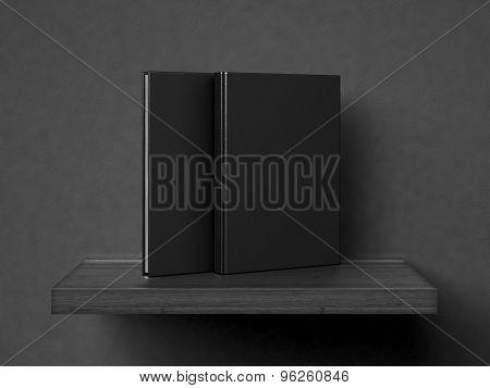 blank books on a wooden shelf. 3d render