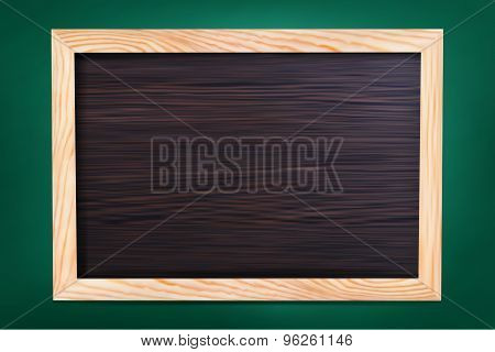 Empty school board in wooden frame