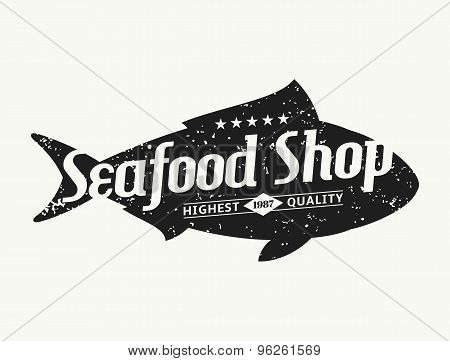 Retro Styled Fish Silhouette Seafood Shop Label Template