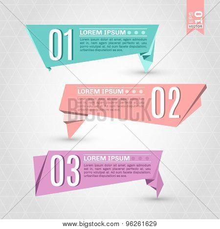 Set of colorful origami labels