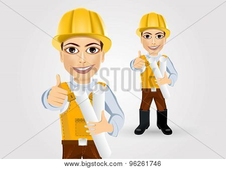 builder with tape blueprints