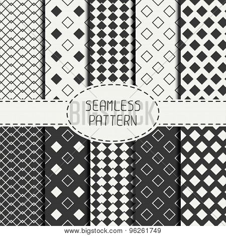 Set of geometric monochrome seamless pattern with rhombus, square. Wrapping paper. Collection of pap