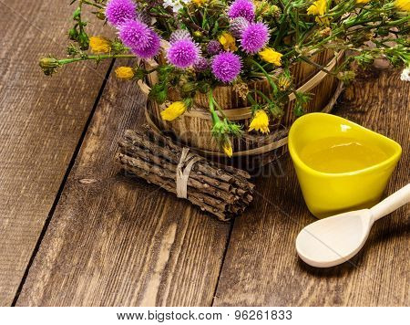 Fresh, Raw Honey And Wild Flowers