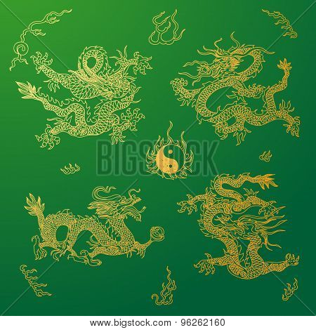 Vector background with asia dragons. Hand drawn illustration.