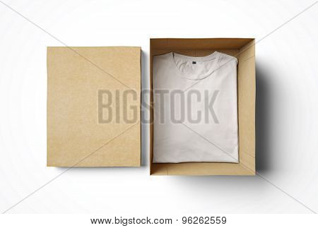 Empty isolated box and white tshirt