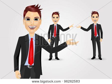 business man showing something