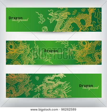 Vector background with asia dragons. Banner set.