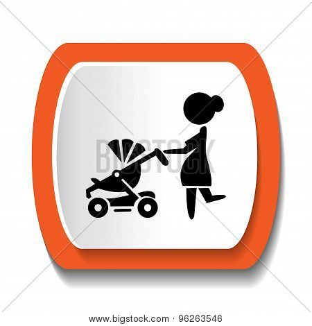 Vector silhouette of a woman with a stroller
