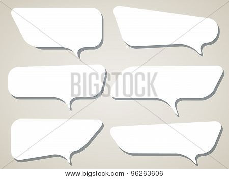 Set of white vector speech bubble with shadow on light brown background